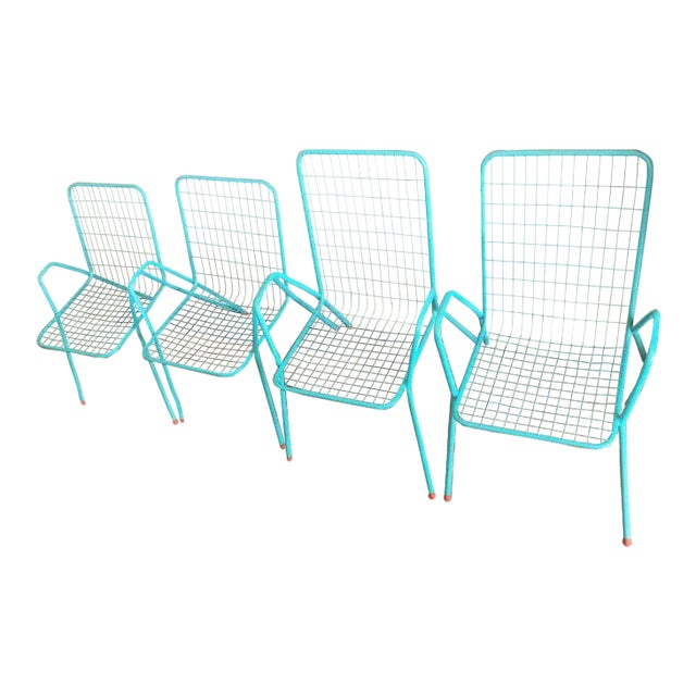 1950s Vintage Emu Industrial Metal Aqua Patio Chairs - Set of 4 For Sale