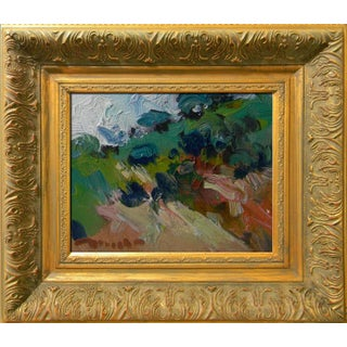 Jose Trujillo Signed Canvas Modern Hillside Oil Painting Framed Impressionist For Sale