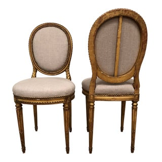 1940s Vintage Gilt French Oval Back Chairs- a Pair For Sale