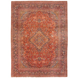 Exceptional Extremely Fine Antique Kashan Carpet For Sale