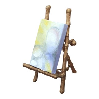 Miniature Modernist Painting on Faux Bamboo Brass Easel For Sale