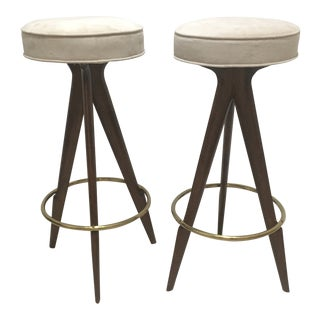 1950s Vintage Italian Wood and Brass Bar Stools- A Pair For Sale