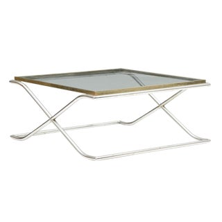 1970 Mid-Century Modern Smoked Glass & Chrome Coffee Table For Sale