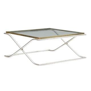 1970 Mid-Century Modern Smoked Glass & Chrome Coffee Table
