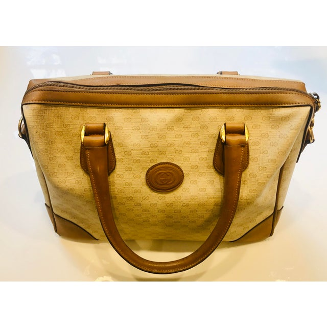 1980s Gucci Canvas Logo Satchel For Sale In New York - Image 6 of 13