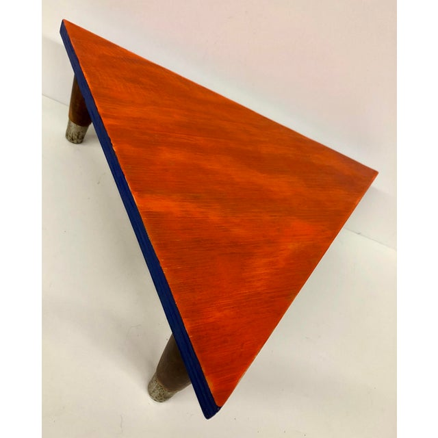 Reclaimed Wood Triangle Low Table For Sale - Image 4 of 13