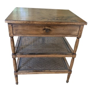 Antique English Side Table With Drawer and Caning For Sale
