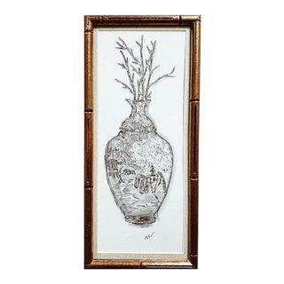 Elle Yount Original 'The Chinoiserie Vase' Drawing, Framed For Sale
