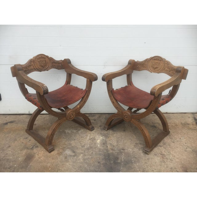 Mediterranean Vintage Spanish Leather & Wood Chairs - A Pair For Sale - Image 3 of 9