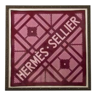 Hermès Vintage Sellier Magenta Cotton Pocket Square, Framed For Sale