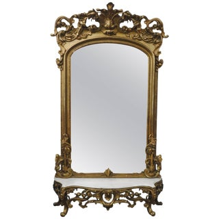Victorian Gilded Mirror With Marble Top Stand For Sale