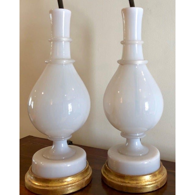 Pair of Antique White French Opaline Glass Vases Now Lamps For Sale - Image 4 of 5