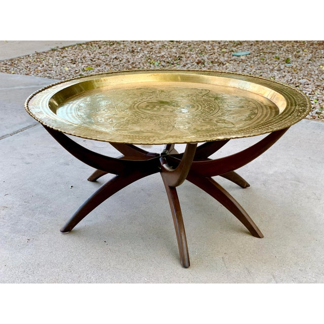 1950s Vintage Chinese Imports Polished Brass Spider Leg Tray Table For Sale - Image 11 of 11