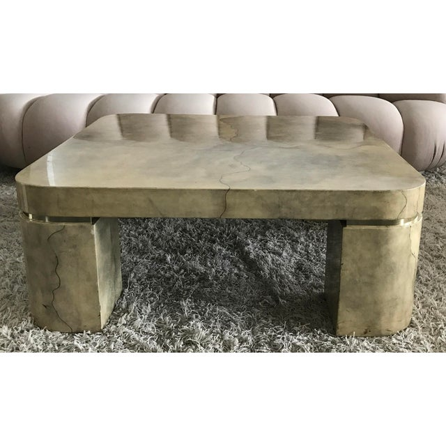 Karl Springer Style Lacquered Goatskin Coffee Table - Image 5 of 8