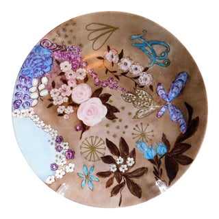 Vintage Swedish Signed Hand-Painted Floral Porcelain Plate For Sale