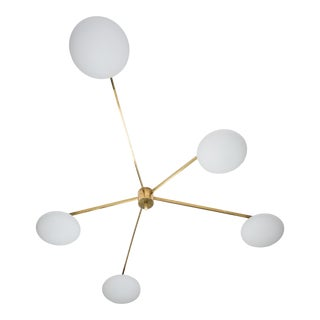 Stella Starfish - Angelo Lelli Style Brass and Opaline Ceiling Lamp For Sale