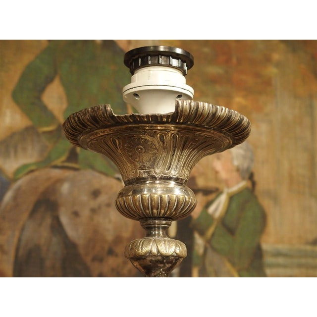 Antique Silvered Bronze Candlestick from France, Early 1800s For Sale In Dallas - Image 6 of 11