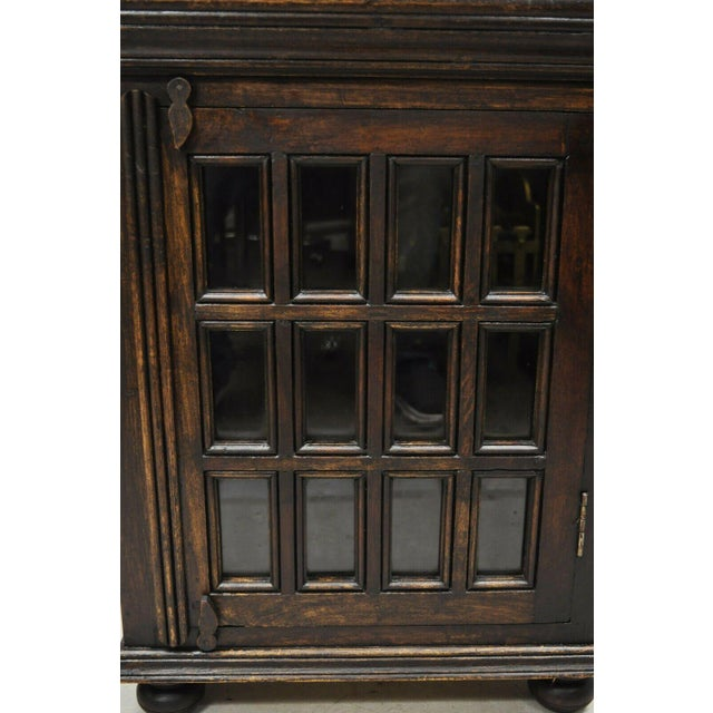 Vintage British Colonial Style Small One Door Wooden Curio Display Cabinet For Sale - Image 4 of 12
