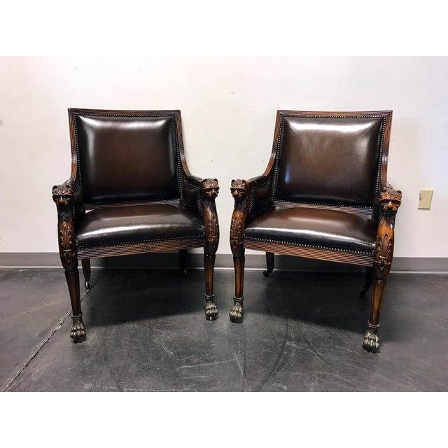 Theodore Alexander Leather Lion Head Chairs - A Pair - Image 3 of 11