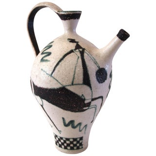 1960 Italian Guido Gambone Signed Glazed Earthenware Jug