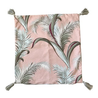 Palm Frond Print Bark Cloth Pink Pillow For Sale