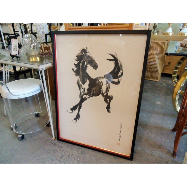 Japanese Equestrian Ink Horse Painting - Image 7 of 7