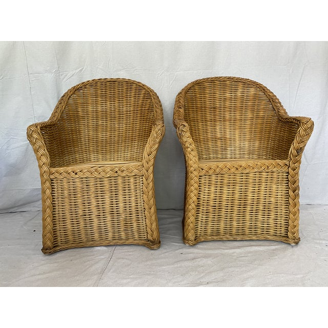 Boho Chic Vintage Woven Wicker Chairs With Braided Trim - a Pair For Sale - Image 3 of 13