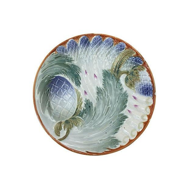 French Majolica Asparagus Plates - Set of 6 For Sale - Image 5 of 6