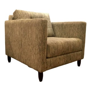 Robert Allen Modern Beige and Gray Herringbone Print Adrian Club Chair For Sale