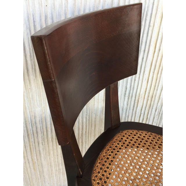 Set of Six Caned Seat and Wood Back Bar Stools For Sale - Image 9 of 13