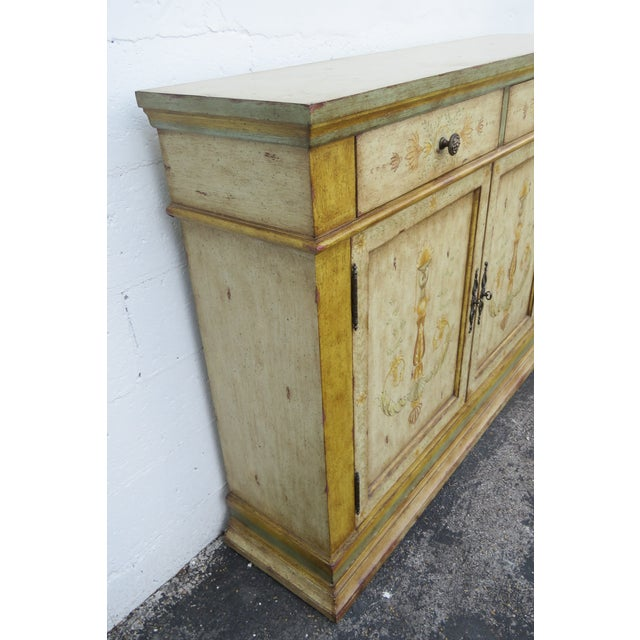 Beige French Shabby Shic Painted Distressed Tall Sideboard Buffet Narrow Console 2154 For Sale - Image 8 of 13