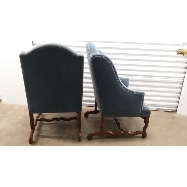 Contemporary Vintage Os De Mouton Chairs Upholstered in Blue Sapphire Mohair - a Pair For Sale - Image 3 of 9