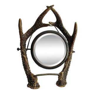 Vintage Carved Wood Wall/Shaving Mirror For Sale