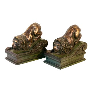 Vintge Resin Regal Resting Lion Statues Bookends - a Pair For Sale