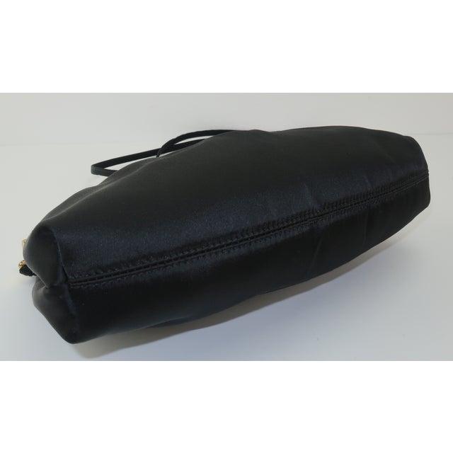C.1980 Givenchy Black Satin Evening Handbag With Rhinestone Closure For Sale - Image 9 of 13