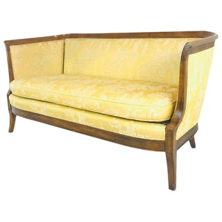 Wood Wrapped Vintage Settee by Bernhardt For Sale
