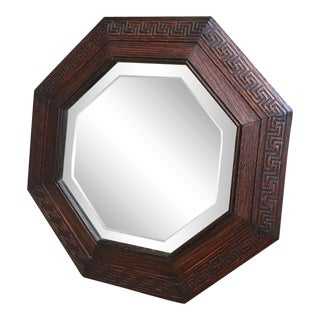 Antique English Carved Oak Octagon Frame Beveled Wall Mirror Greek Key Jacobean For Sale
