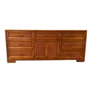 American of Martinsville Vintage Hollywood Regency Faux Bamboo Nine Drawer Dresser For Sale