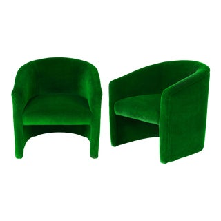 Vintage Emerald Velvet Upholstered Barrel Tub Chairs - a Pair For Sale