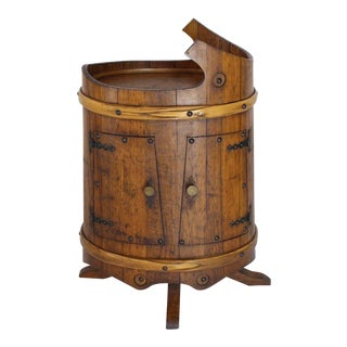 1930s Arts & Crafts Compact Oval Barrel Shape Liquor Cabinet For Sale