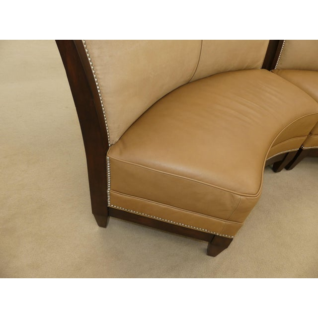 Brown Stanford Furniture Leather & Suede Garrett Curved Dining Bench or Banquette- a Pair For Sale - Image 8 of 13