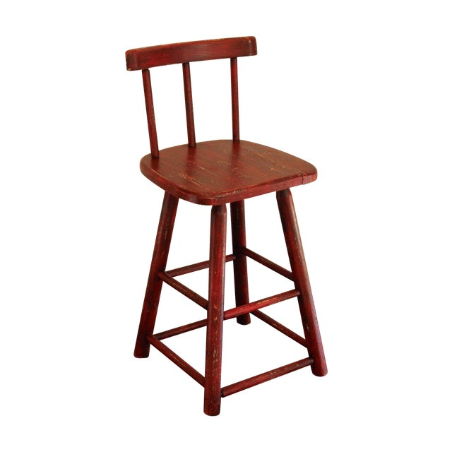 Rustic Red Stool - Image 1 of 3