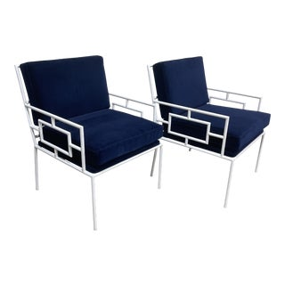 Mr. Brown London Navy Velvet Fitzroy Chairs-A Pair For Sale