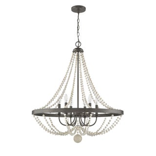 Jolene 6 Light Chandelier, Rustic Brown and Driftwood White