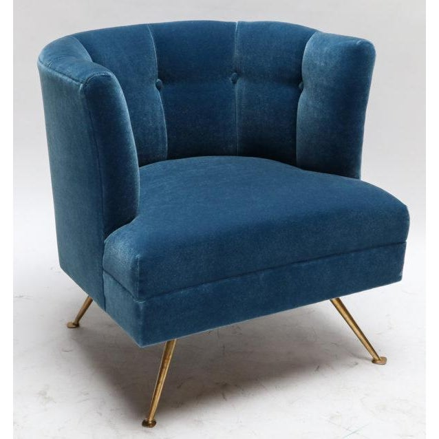 Italian 1960s Italian Lounge Chairs in Blue Mohair-A Pair For Sale - Image 3 of 9
