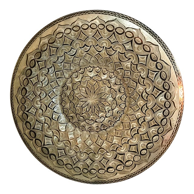 Vintage Etched Copper Platter Wall Hanging For Sale