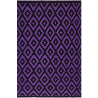 "Boho Chic Carlita Purple Hand-Woven Kilim Wool Rug - 5'6"" X 7'9"" For Sale"
