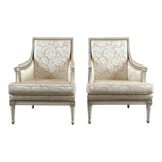 French Antique Louis XVI Style Carved Club Chairs - a Pair For Sale