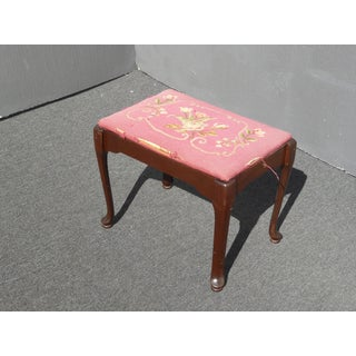 Vintage Rustic French Provincial Pink Needlepoint Bench Stool Preview