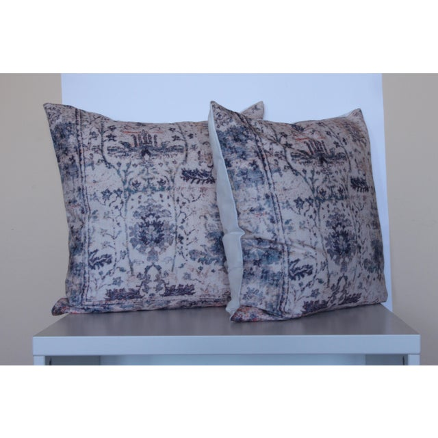 """Vintage Blue & White Pillow Print Cover - 18"""" x 18"""" - A Pair - Image 2 of 6"""